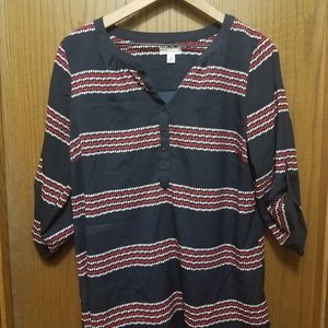 3/4 Sleeve Navy, Red, & White Top- sz M